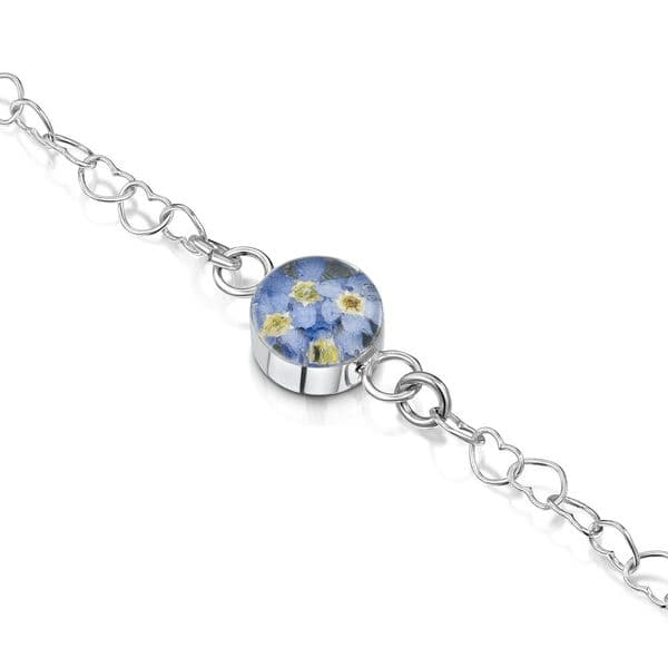 Hand Made Silver bracelet With Real Flowers